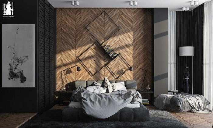 grands poufs gris, tapis gris, lit moderne, étagères murales originales, parquet chevron