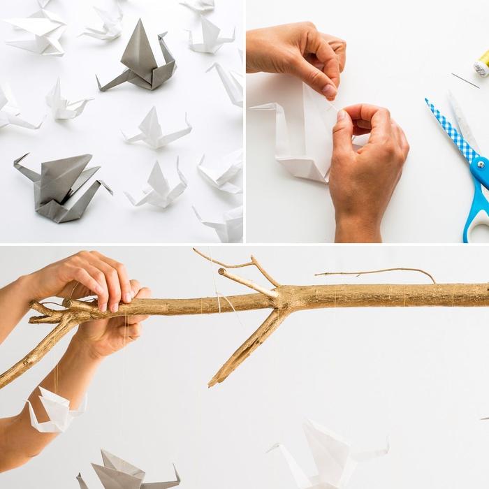 idée déco originale avec des grues en origami traditionnels suspendus à une branche, une déco origami facile à réaliser