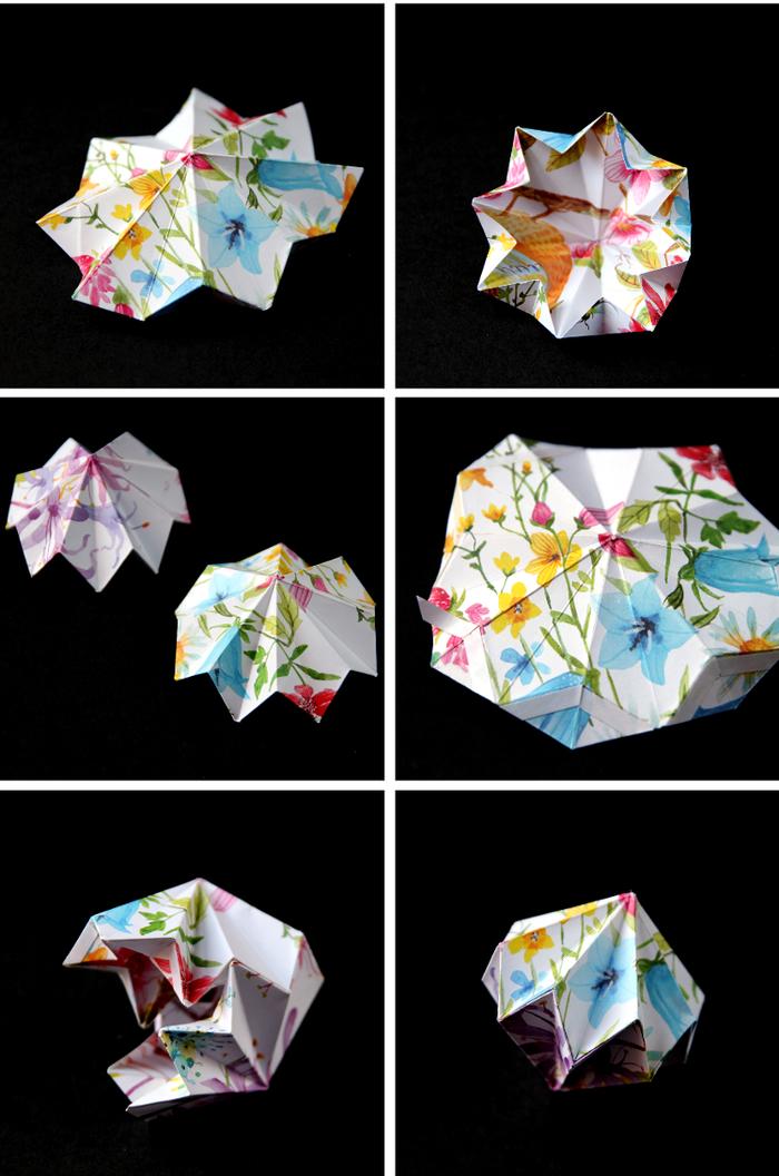comment faire des origami ornements de noël façon gemmes précieuses, idée pour un pliage de papier facile et esthétique
