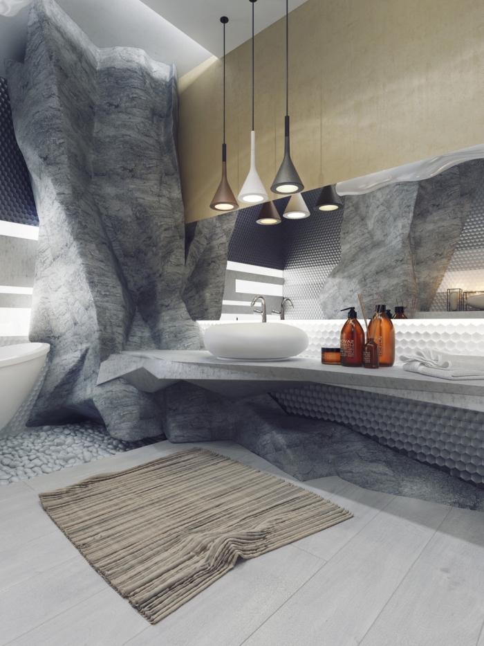 colonne salle de bain décorative à imitation rocher gris, décoration salle de bain en couleurs naturelles gris et beige