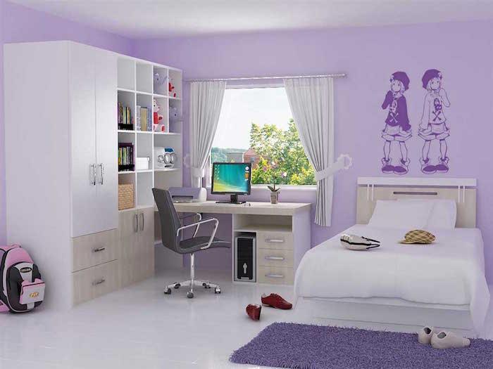 amenager chambre de fille, deco chambre enfant avec peinture mauve, tapisserie lavande et meubles blancs