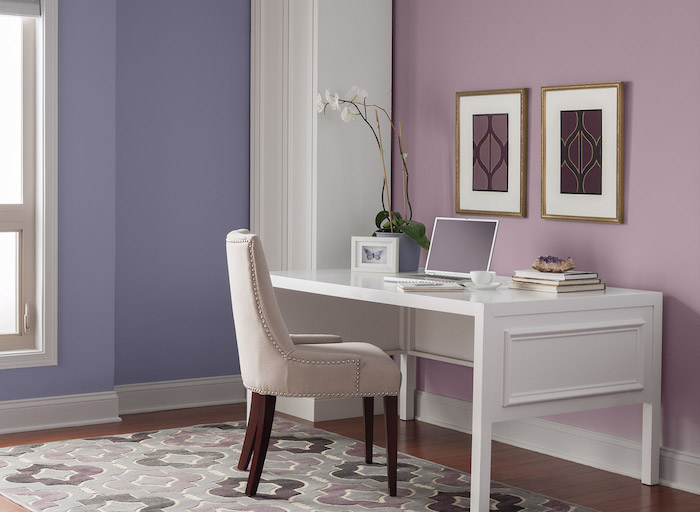 idée quelle couleur associer au mauve pour bureau, peinture murale lavande et rose