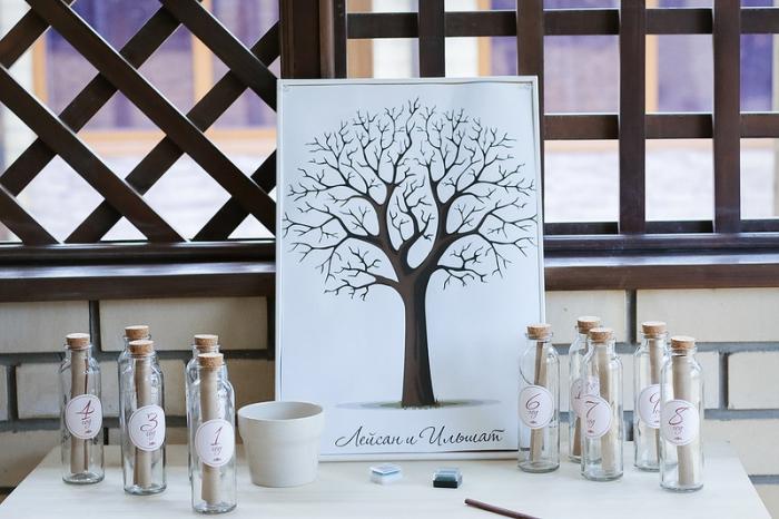 comment aménager un coin de mariage avec arbre à empreinte vierge et tampons encreur en différentes couleurs