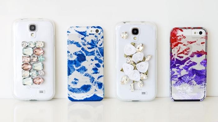 exemples de coque de telephone personnalisé de couleur blanche avec décoration en petits cristaux décoratif ou à l'effet découpage dentelle