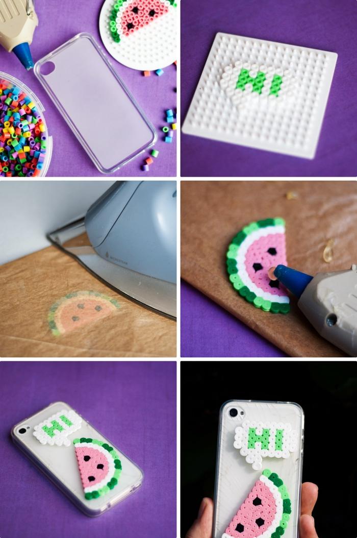 tutoriel facile pour faire une coque de telephone à design amusant aux motifs melon, comment utiliser le pistolet à colle chaude pour créer un accessoire moderne