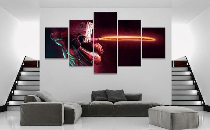décoration science fiction de salon, serie de tableaux super héro pour déco moderne