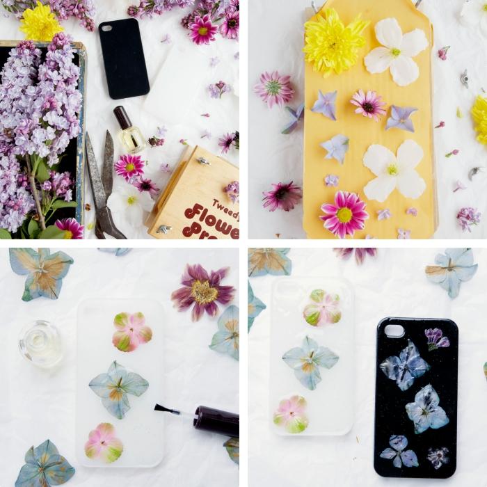 coque a personnaliser avec fleurs séchées de couleurs jaune et violet, comment décorer un portable avec vernis top coat et fleurs