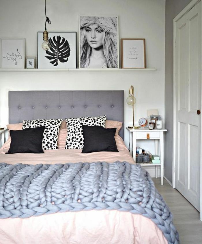 porte-encadrement blanc, tête de lit capitonnée, ambiance déco scandinave
