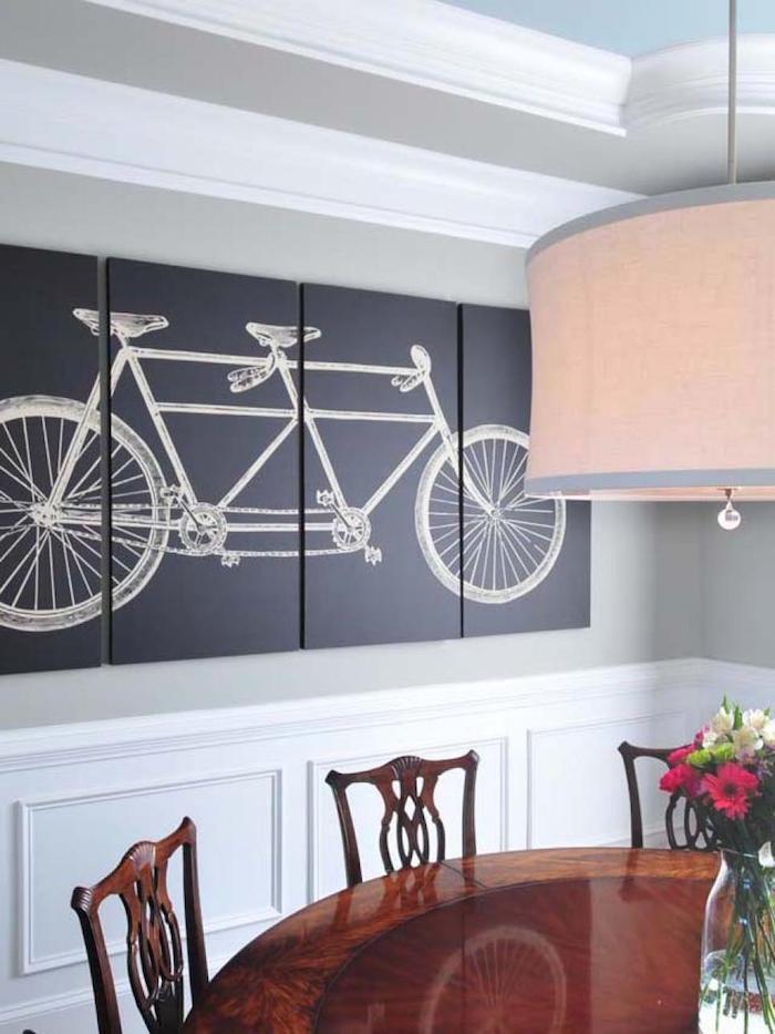 tableau de vélo en quatre parties, decoration cycliste pour intérieur, dessin de tandem vintage