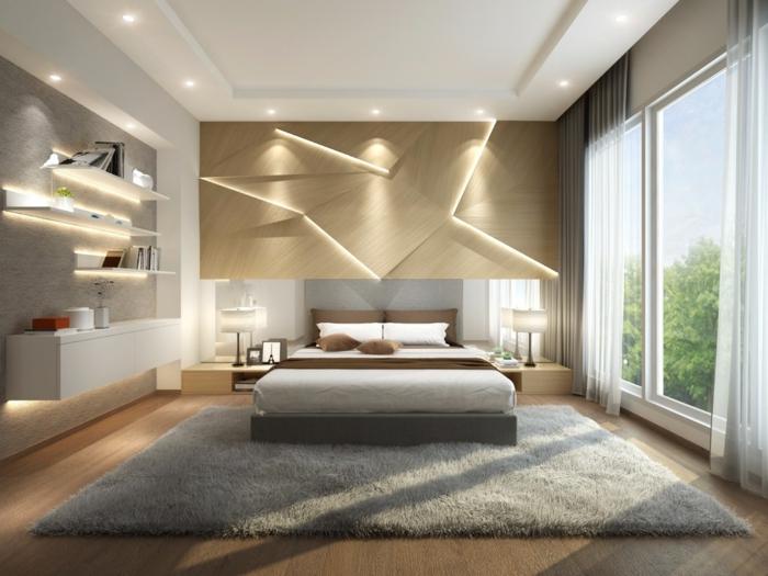 tapis rectangulaire, panneaux muraux en bois, éclairage romantique, fenêtre du plafond au sol, étagères murales
