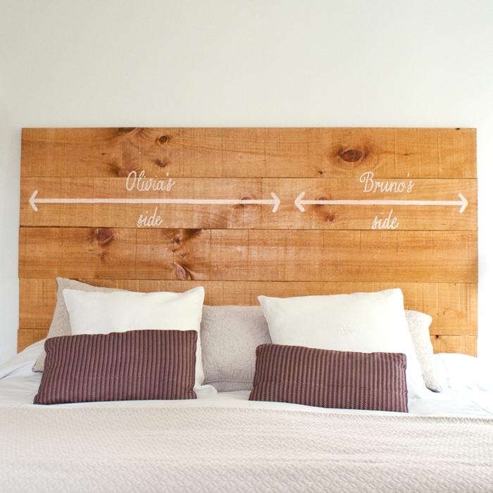 idée originale pour customiser sa tete de lit bois avec une inscription