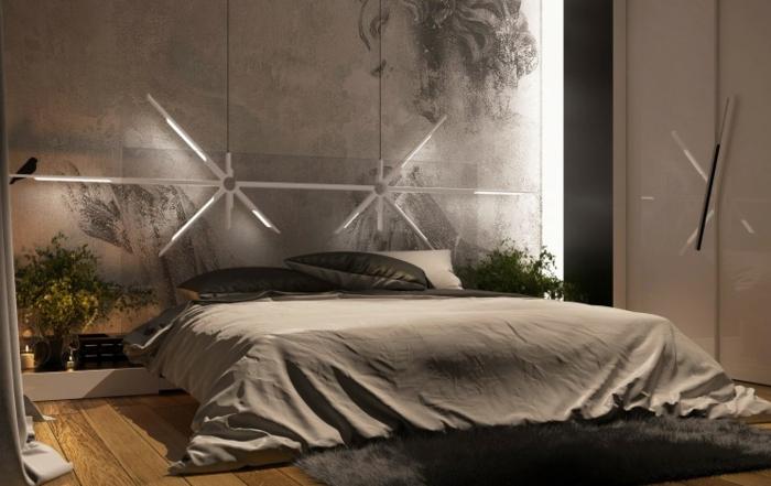 chambre avec le plancher en bois, une grande armoire blanche, tapis poilu, déco originale