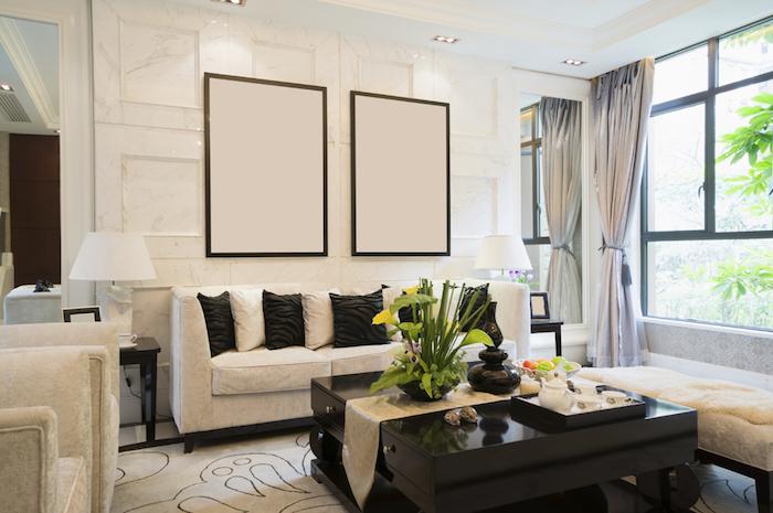 tableau blanc un pour déco de salon style art moderne, décoration minimaliste design