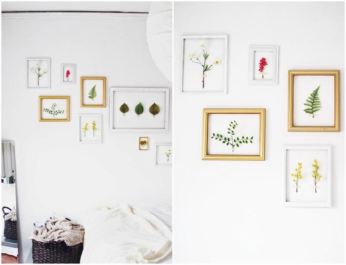 décoration murale chambre de cadres avec des feuilles et brins de plantes sur un mur vierge, deco esprit zen nature, activite manuel de printemps