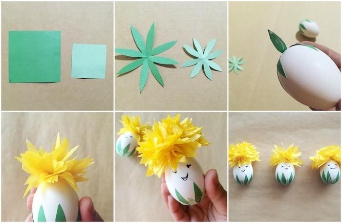 idée décoration oeuf de paques originale, oeuf avec chapeau en fleur de papier jaune et des traits de visage bonhomme