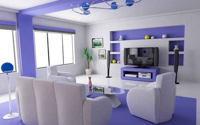 modele salon moderne bicolore, salle de séjour minimaliste, deco blanc et mauve pour séjour