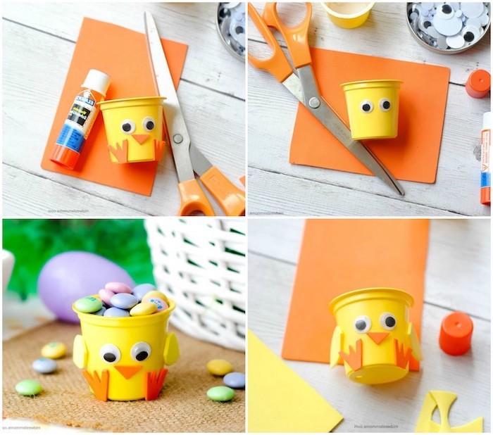 activité manuelle primaire pour fabriquer un poussin de paques en gobelet en plastique avec des yeux mobiles, ailes et pattes en papier mousse, boîte à bonbons
