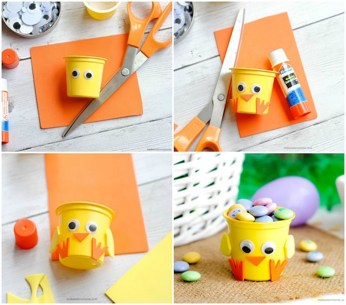 activité manuelle maternelle pour paques, un poussin en petit gobelet en plastique jaune avec des yeux mobiles, pieds, nez e ailes en plastique, boite bonbons originale