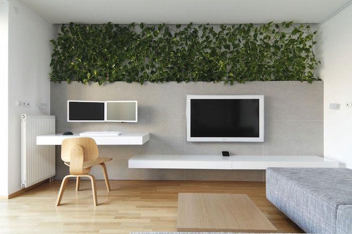 decoration intérieure salon originale, deco salon design, mur végétal interieur, etageres modernes design