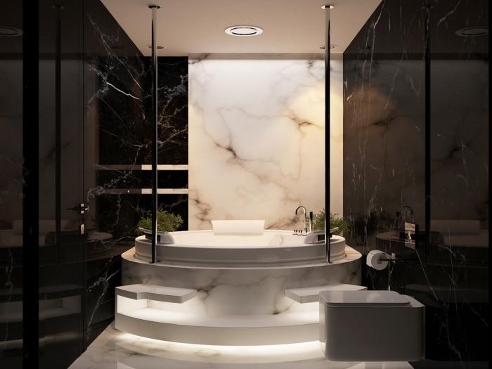 meuble de salle de bain moderne et luxueux, équipement salle de bain avec cuvette wc suspendue moderne et jacuzzi à design marbre, intérieur marbre blanc et noir