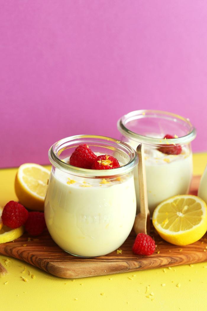 recette vegan de dessert léger façon crème au citron à base de crème de noix de coco