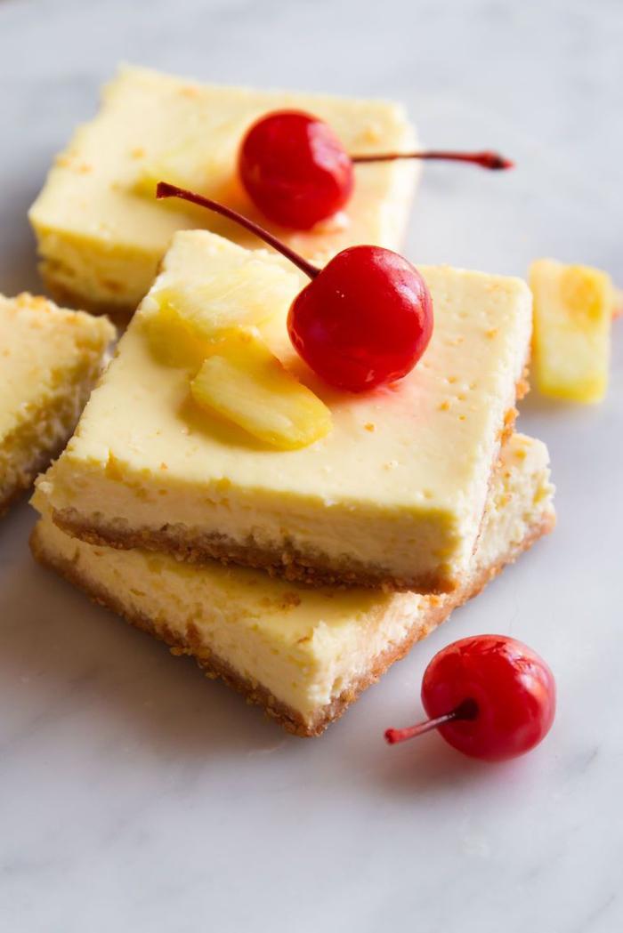 idée pour un dessert léger et rapide à base d'ananas, recette de cheesecake minceur à l'ananas