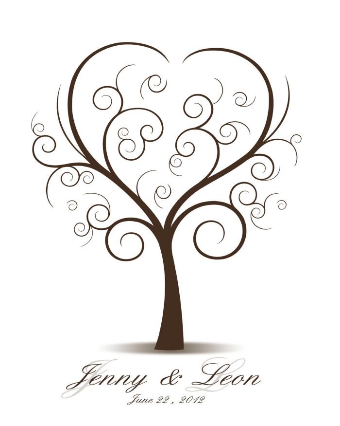design original d'un dessin digital avec arbre aux branches volutes en forme de coeur