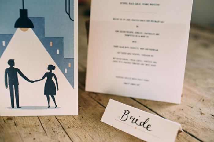Faire part original mariage couple amoureux dessin beau carte d'invitation