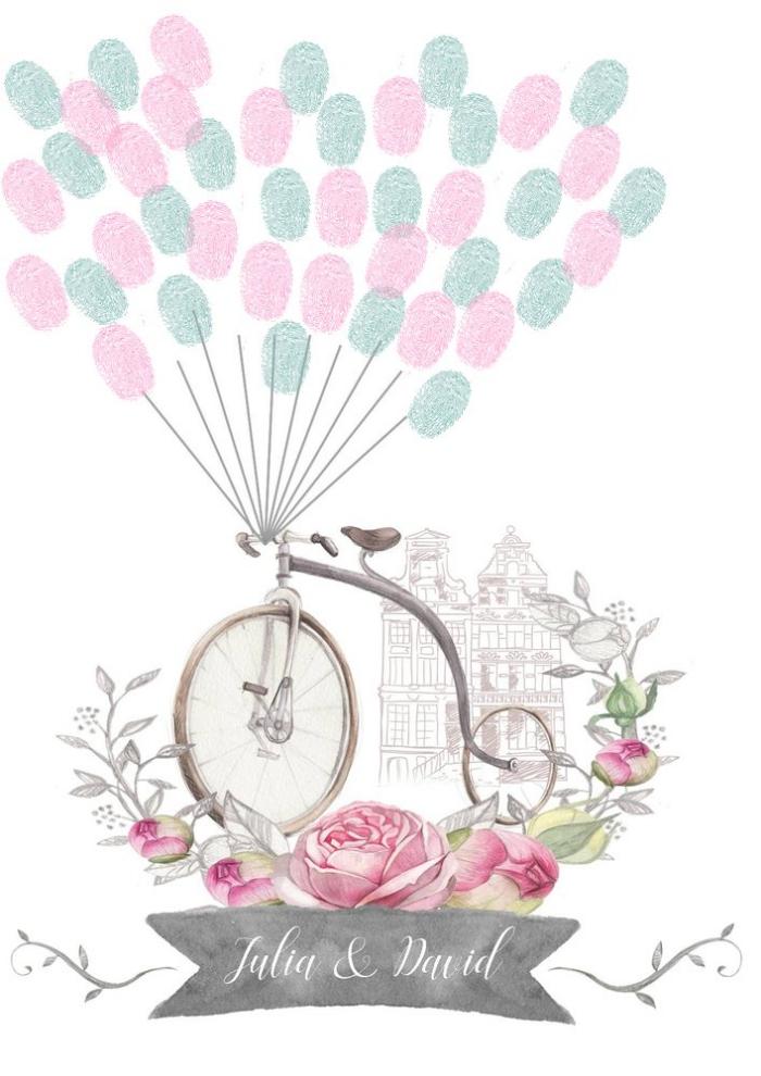joli dessin avec vélo et bouquet de rose à compléter avec un bouquet de ballons en empreintes des invités au événement spécial