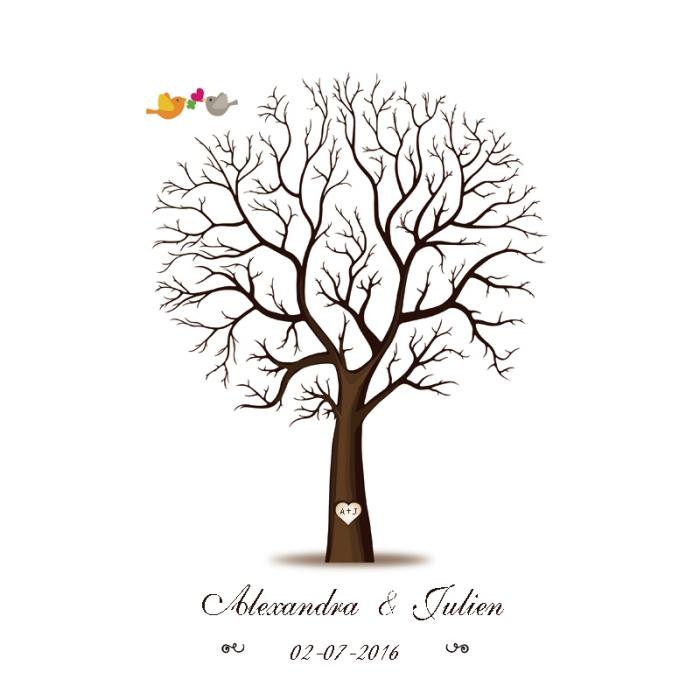 petits oiseaux amoureux volant au-dessus d'un arbre sans feuillage avec un grand coeur sur le tronc