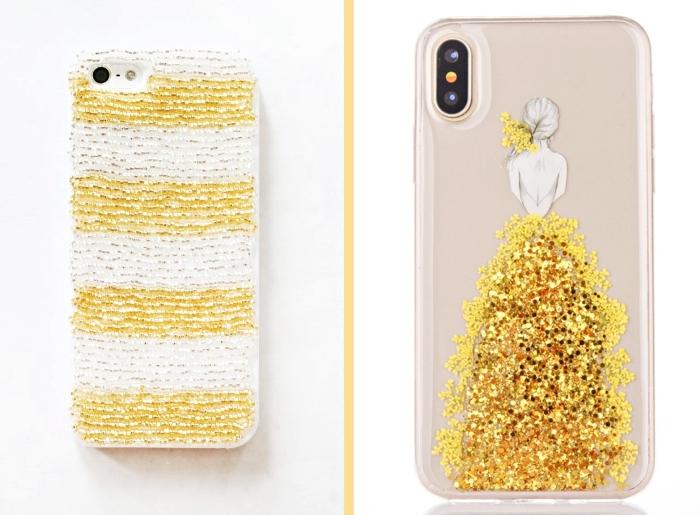 idée pour faire une housse telephone féminine en blanc et or, dessin imprimé avec strass dorés collés sur une coque transparente
