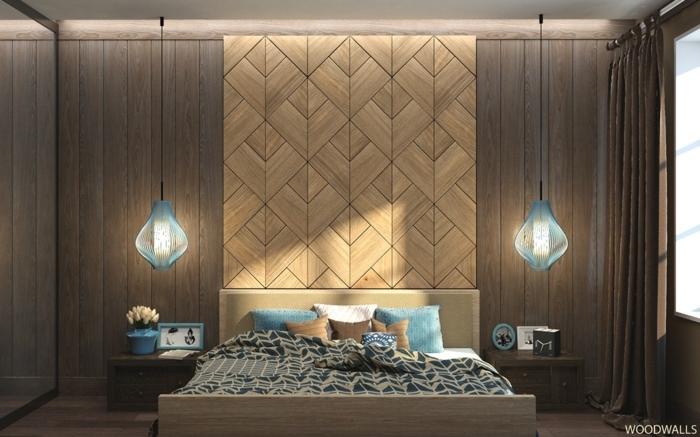 décoration murale panneau mural, lampes bleus pendantes, coussins déco etchevets en bois