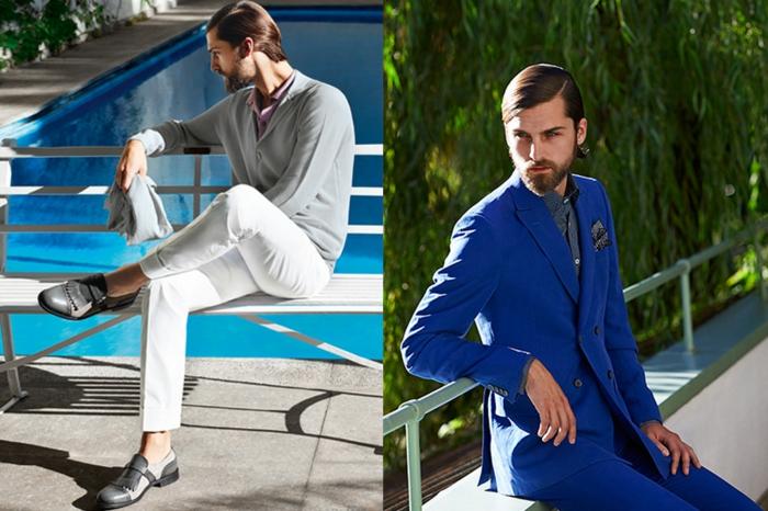 deux looks, un décontracté et un habillé, costume bleu roi avec chemise grise, mouchoir de poche en gris, veste avec quatre boutons devant