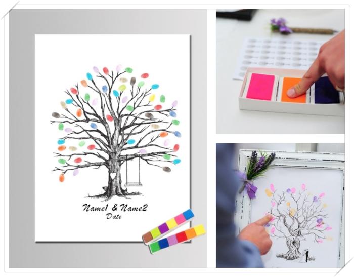 instruction comment laisser son empreinte colorée sur l'arbre à empreintes, modèle de cadre photo à design vintage vieilli