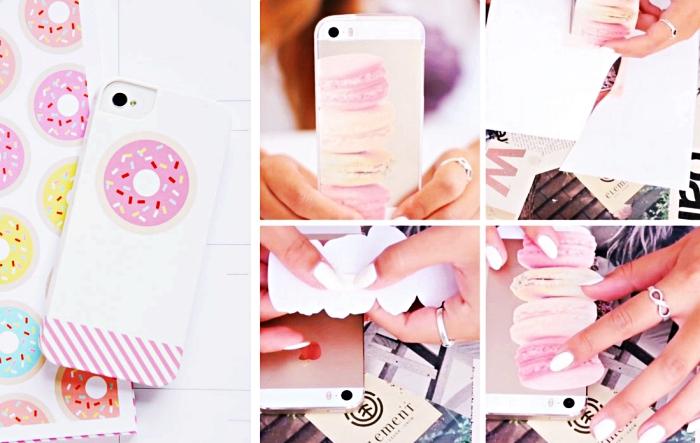 comment faire une housse telephone délicieuse avec photo de donnut ou macarons français en couleurs variées, coller une photo sur une coque en silicone