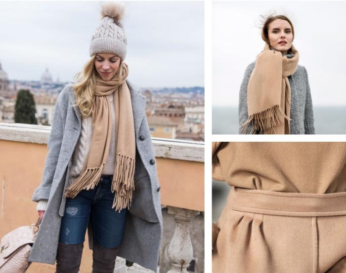 comment s habiller avec un pull blanc et jeans déchirés, porter le manteau long gris avec écharpe camel et bonnet gris clair