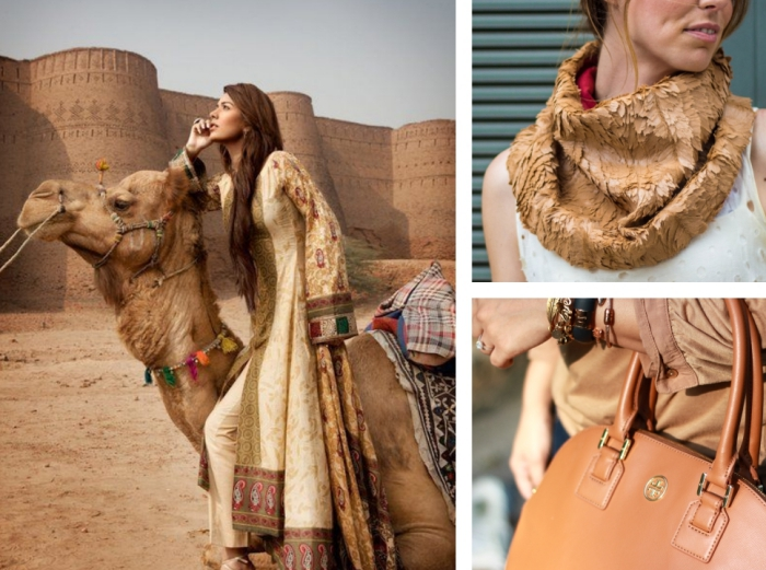 idée quels accessoires choisir pour une tenue en couleurs beige et marron, femme aux cheveux longs marron habillée en camel