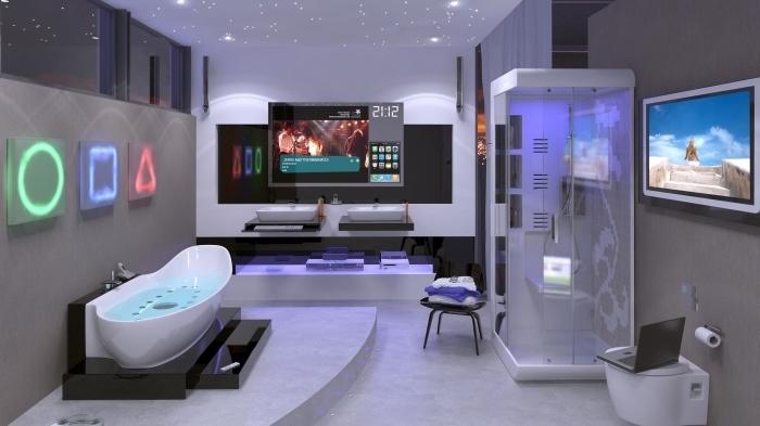 quelle couleur salle de bain choisir pour une ambiance high tech et moderne, appareils intelligents avec télécommande et infrarouge