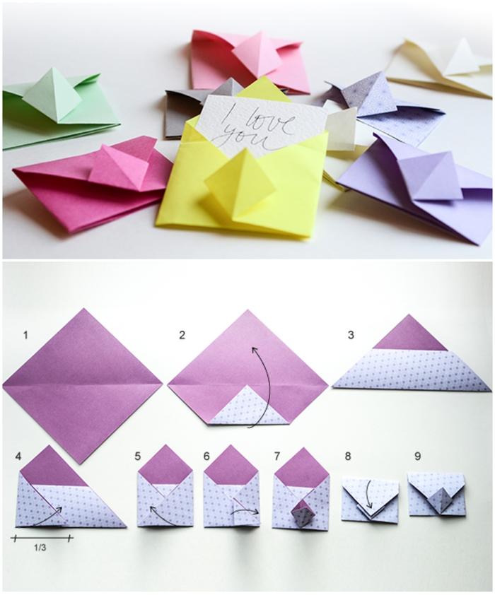 pliage papier facile d'une petite enveloppe origami en couleur vitaminée idéale pour y mettre un mot doux