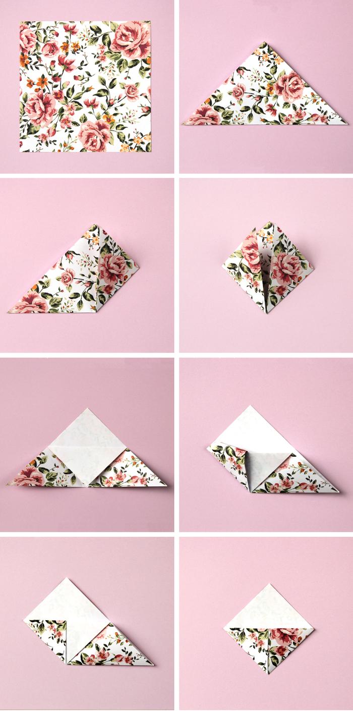 les étapes du pliage d un marque-page origami facile, réalisé en joli papier aux motifs vintage