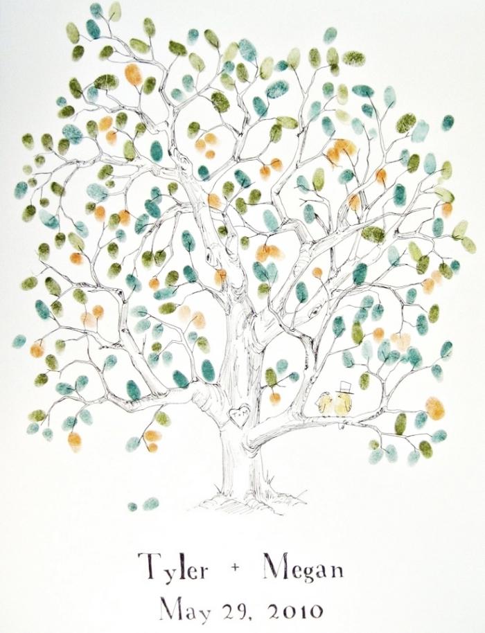 modèle d'arbre symbolisant l'amour et la famille au feuillage réalisé par des empreintes des invités au mariage