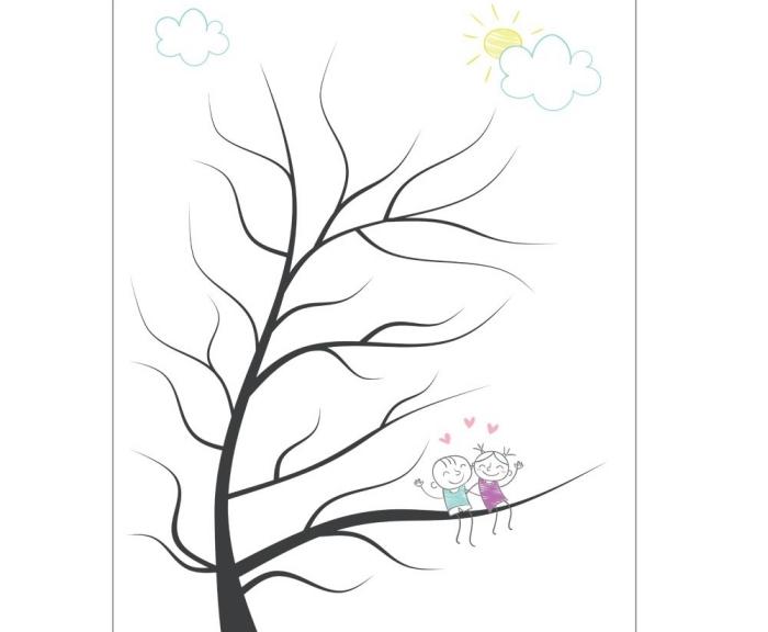 dessin à esprit enfant avec un arbre sans feuillage et couple d'enfants amoureux et heureux sous le ciel ensoleillé