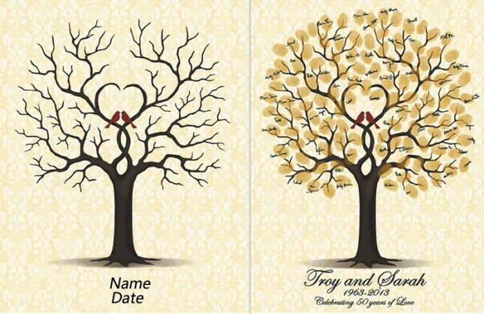 illustration avec oiseaux et arbre symbolisant le vrai amour avec la date du mariage et les prénoms des nouveaux mariés