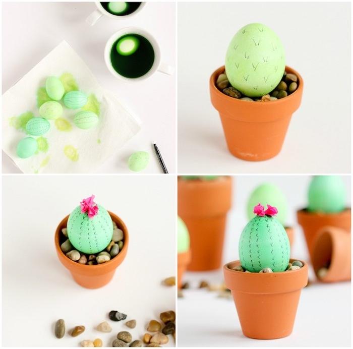 des oeufs repeints en vert avec des motifs cactus dans un pot de fleur rempi de pierres, tuto activité de paques intéressante