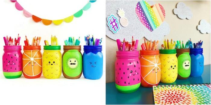 activité manuelle pour ado, des pots en verre personnalisés à motifs fruits pour votre deco bureau printaniere