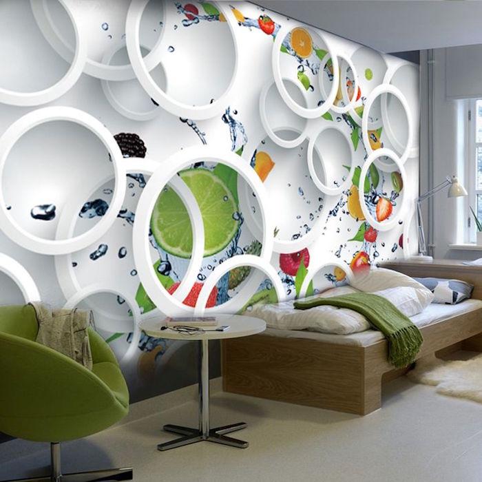 papier peint deco murale relief, idée tapisserie moderne effet 3 dimensions