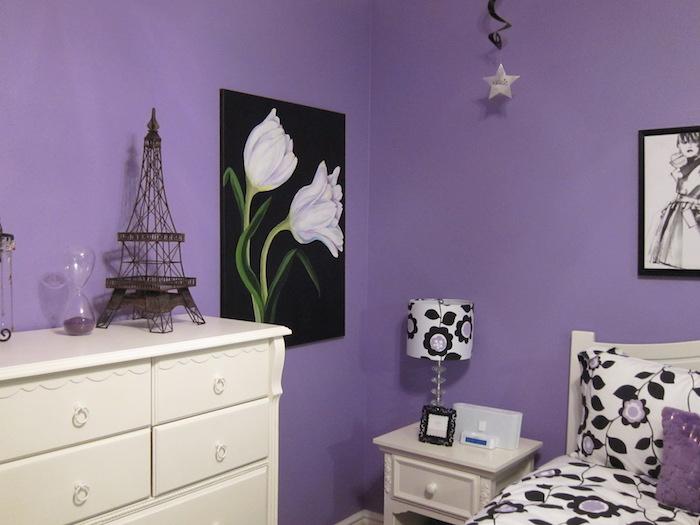 photo de chambre a coucher couleur violet mauve, peindre piece en violet couleur lavande