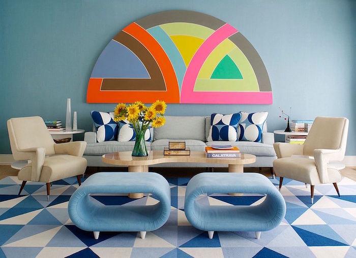 idée de décoration de salon design, modele deco salon retro vintage, objet mural decoratif