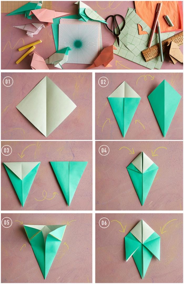 idée pour un bricolage de saint-valentin en papier, tuto d'origami oiseau facile pour créer une décoration festive et romantique