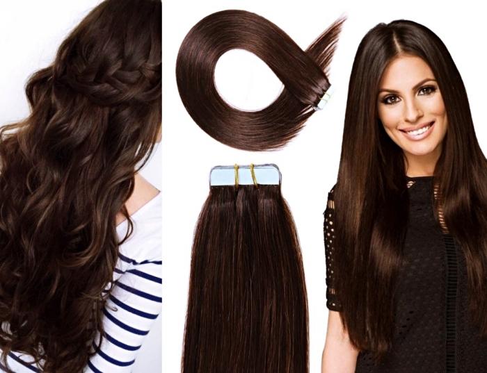 quelle couleur d'extensions choisir pour cheveux marron, coiffure cheveux marron aux reflets acajou